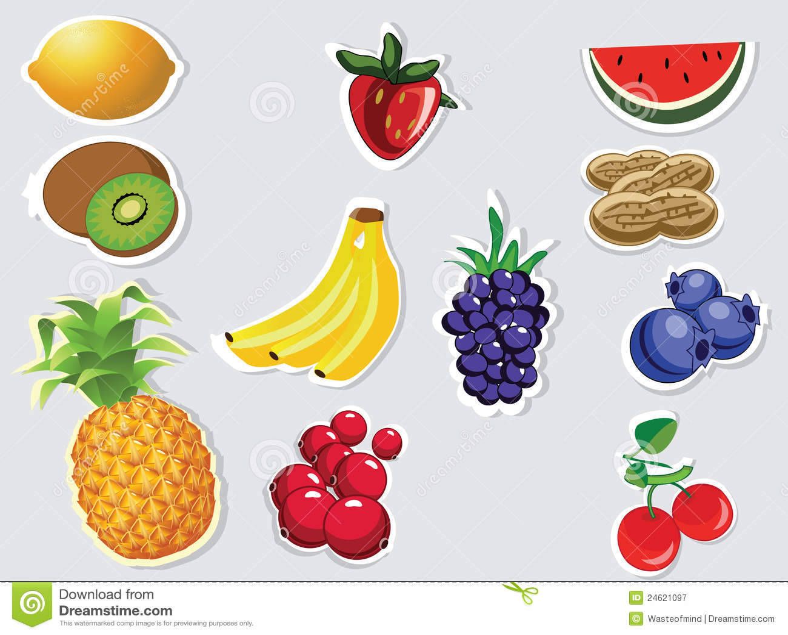 editable fruits on grey background stock illustration illustration