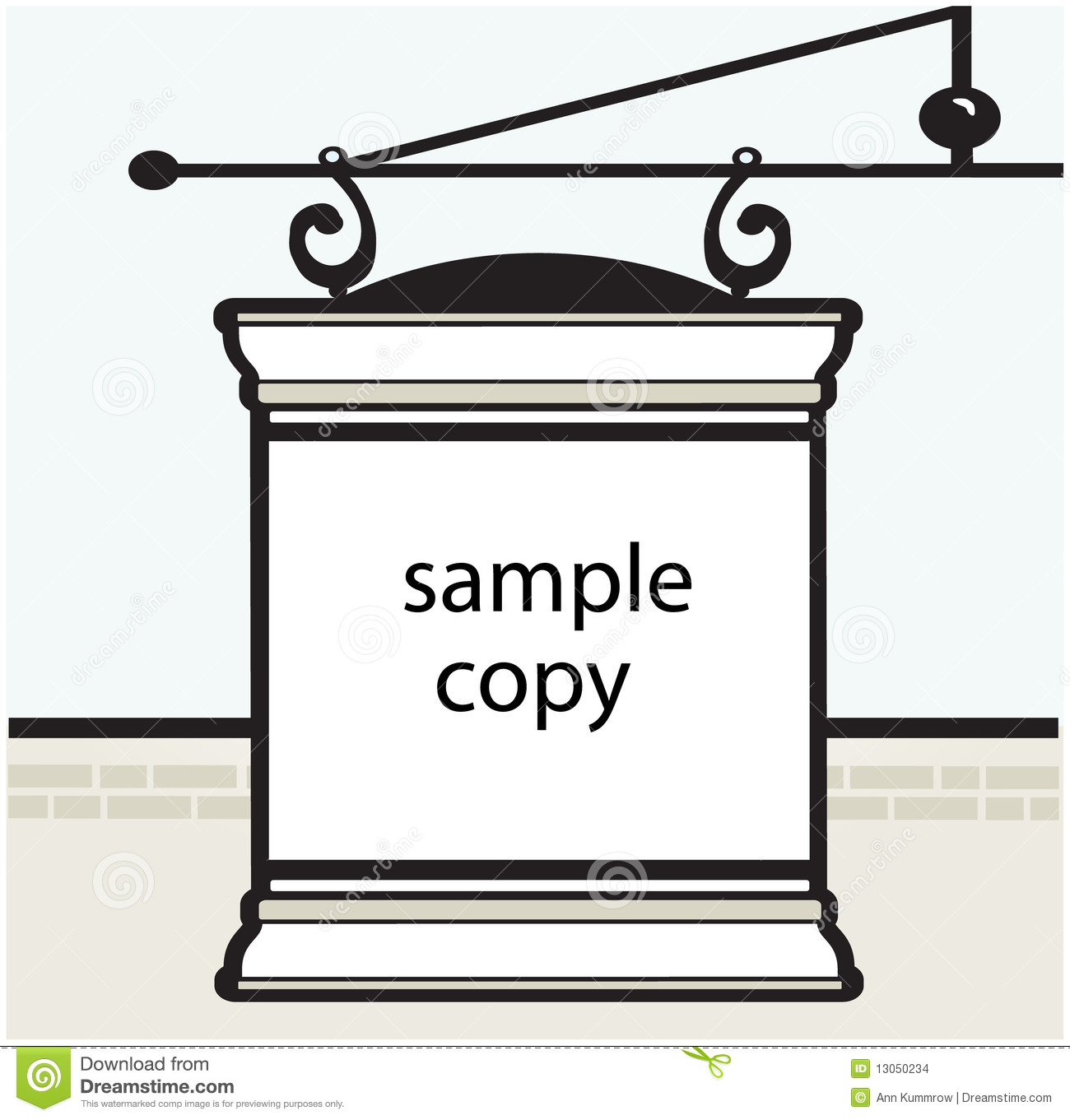 editable hanging wrought sign template stock illustration
