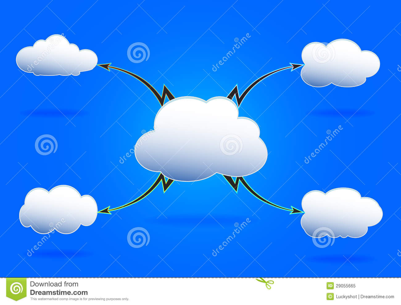 Editable Mind Map With White Clouds And Lighting Royalty Free Stock ...
