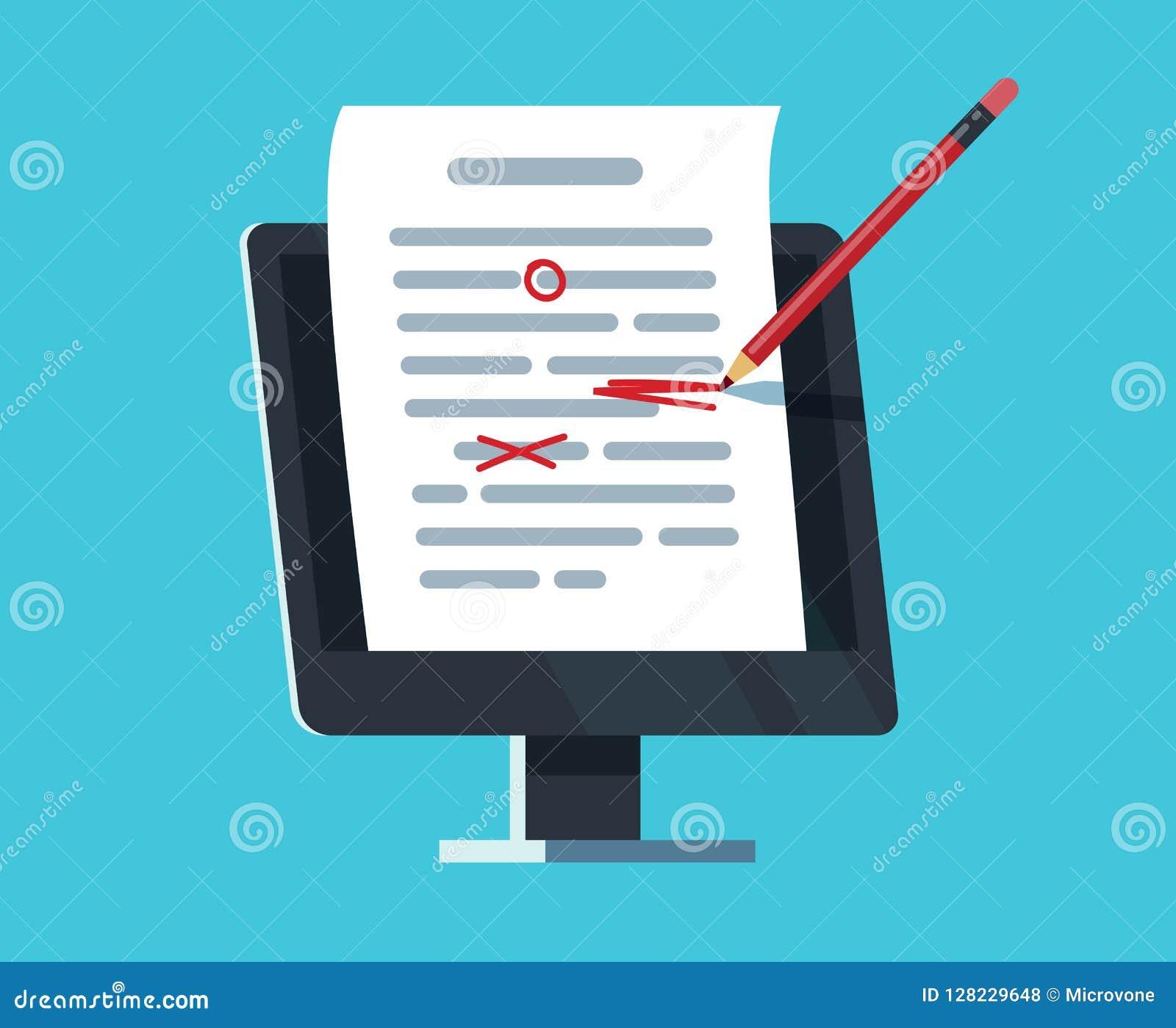 Editable online dokument Komputerowa dokumentacja, eseju writing i edytorstwo, Copywriter i teksta redaktora wektoru pojęcie