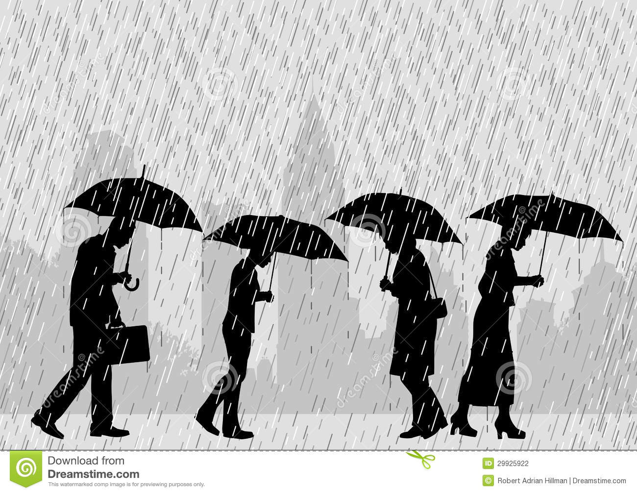 ... of people on a city street walking through rain with umbrellas