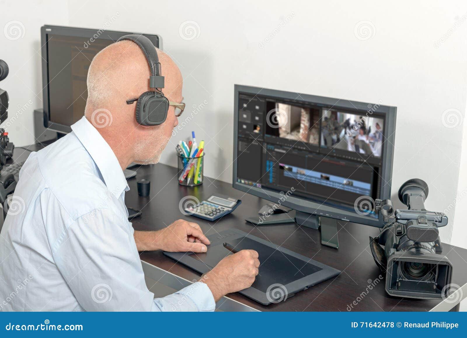 Editor de vídeo en su estudio