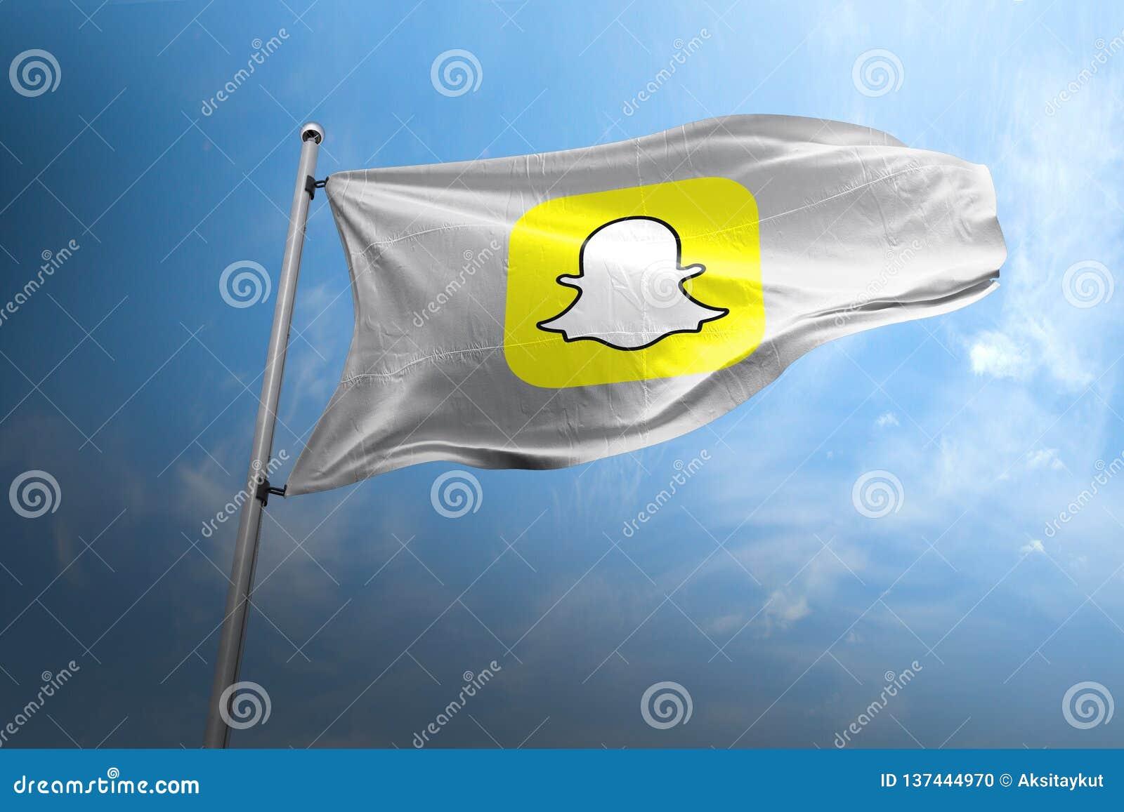 Editorial fotorrealista de la bandera de Snapchat