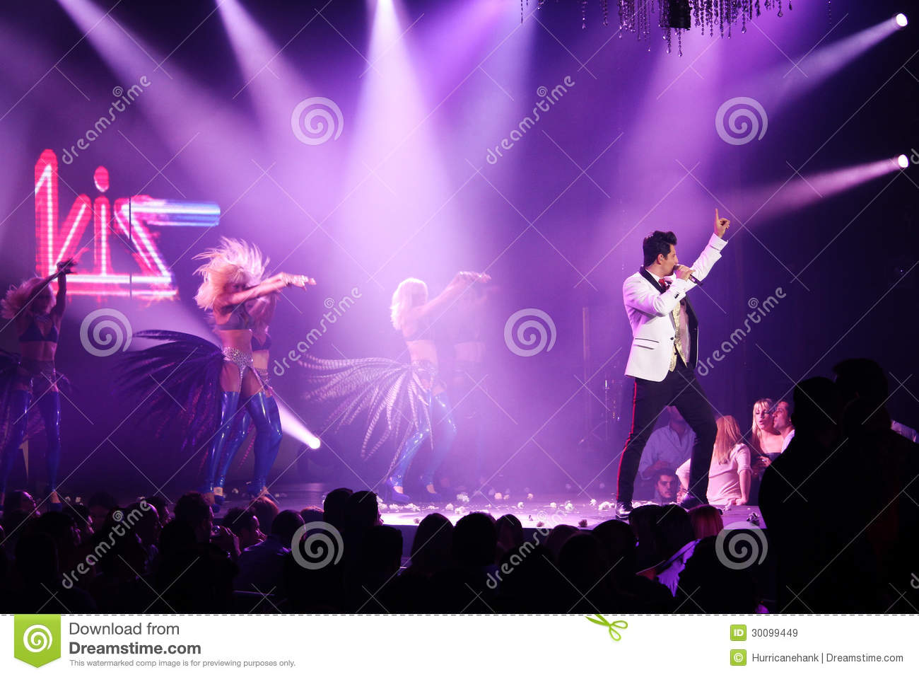 Sakis Rouvas singing on stage in Athens, Greece Editorial ...