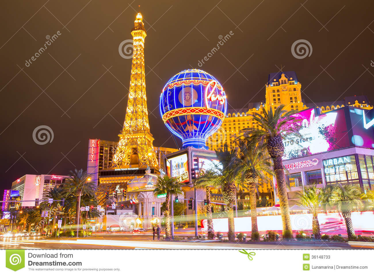 editorial use only las vegas nevada strip at night editorial stock photo image 36148733. Black Bedroom Furniture Sets. Home Design Ideas