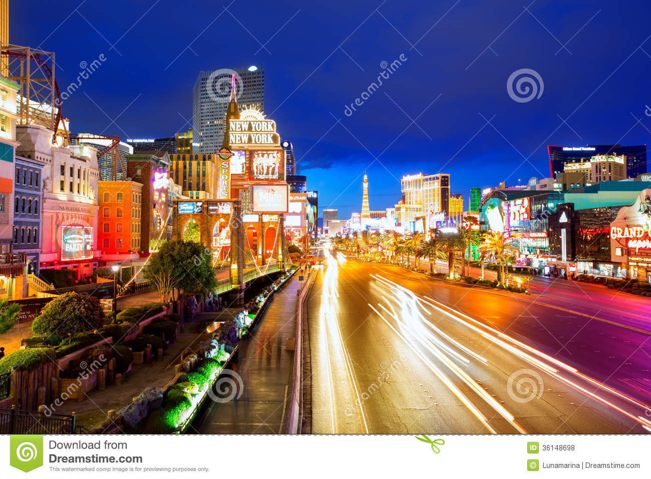 editorial use only las vegas nevada strip at night editorial stock photo image 36148698. Black Bedroom Furniture Sets. Home Design Ideas