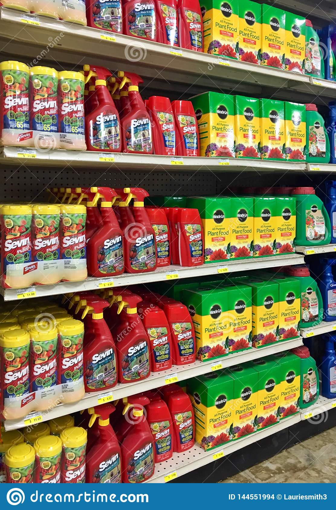 EDITORIAL: A variety of weed killers and plant food products for sale at a farm and garden store in Illinois