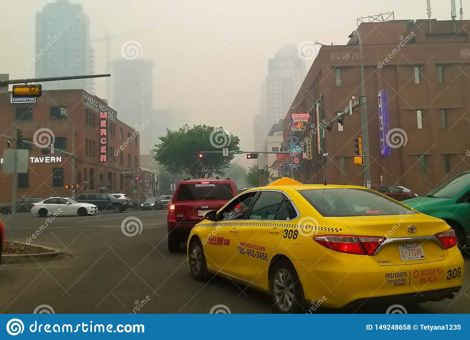 Edmonton, Alberta, Canada - May 30 2019: Air quality advisory in effect as wildfire smoke blankets city