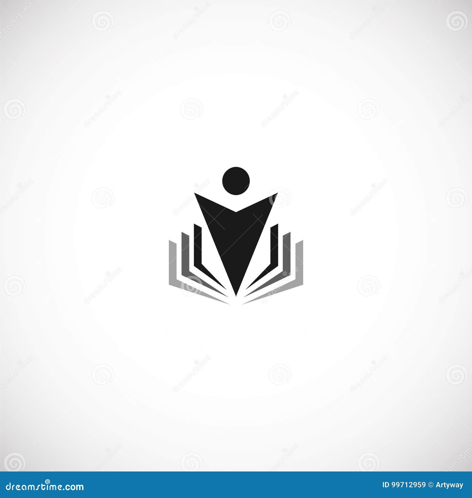 A educação preta abstrata isolada da cor e aprende o livro do logotipo, da universidade e de escola, logotype das silhuetas do se
