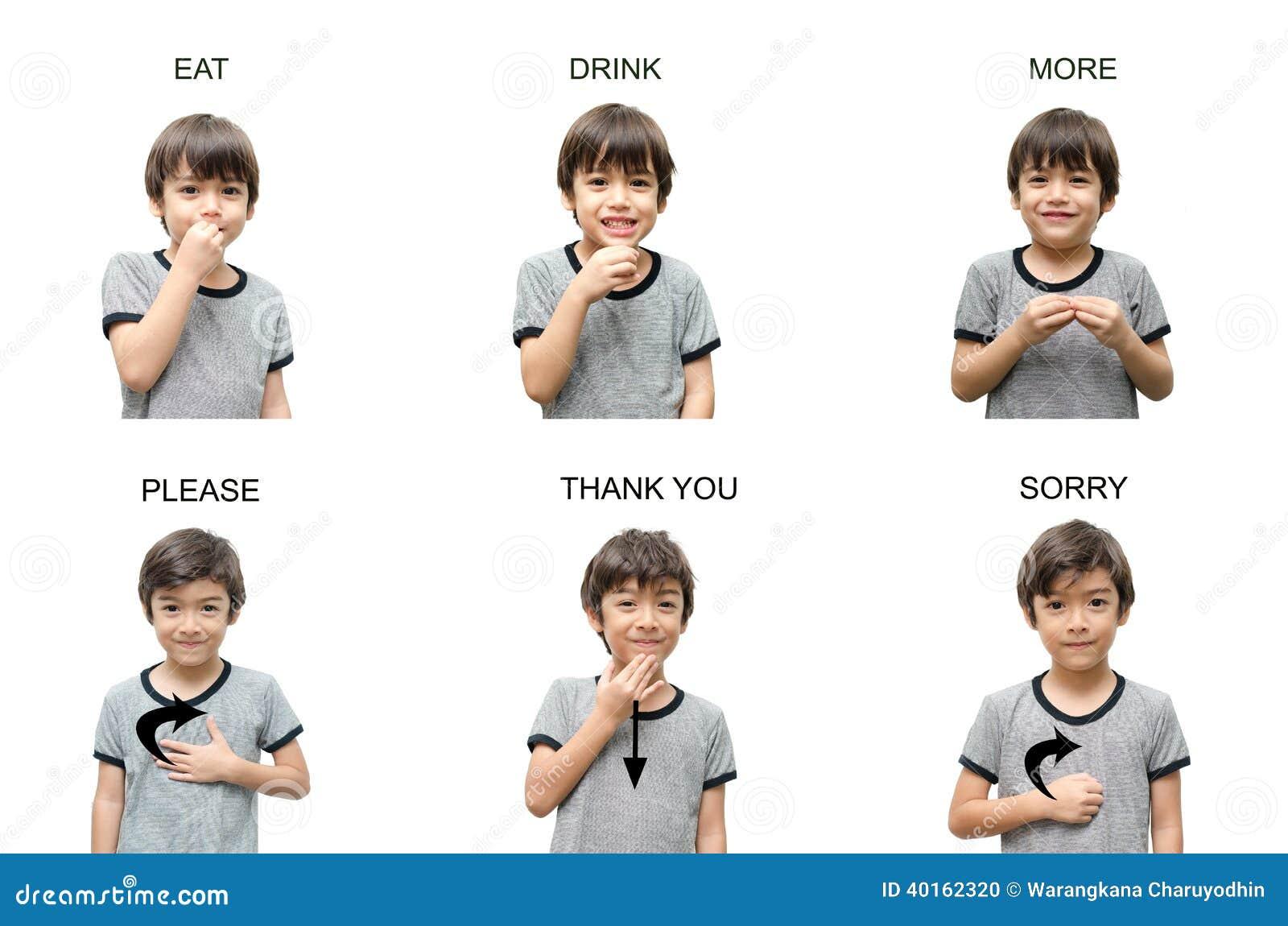 Educación de lenguaje de signos de la mano del niño en el fondo blanco