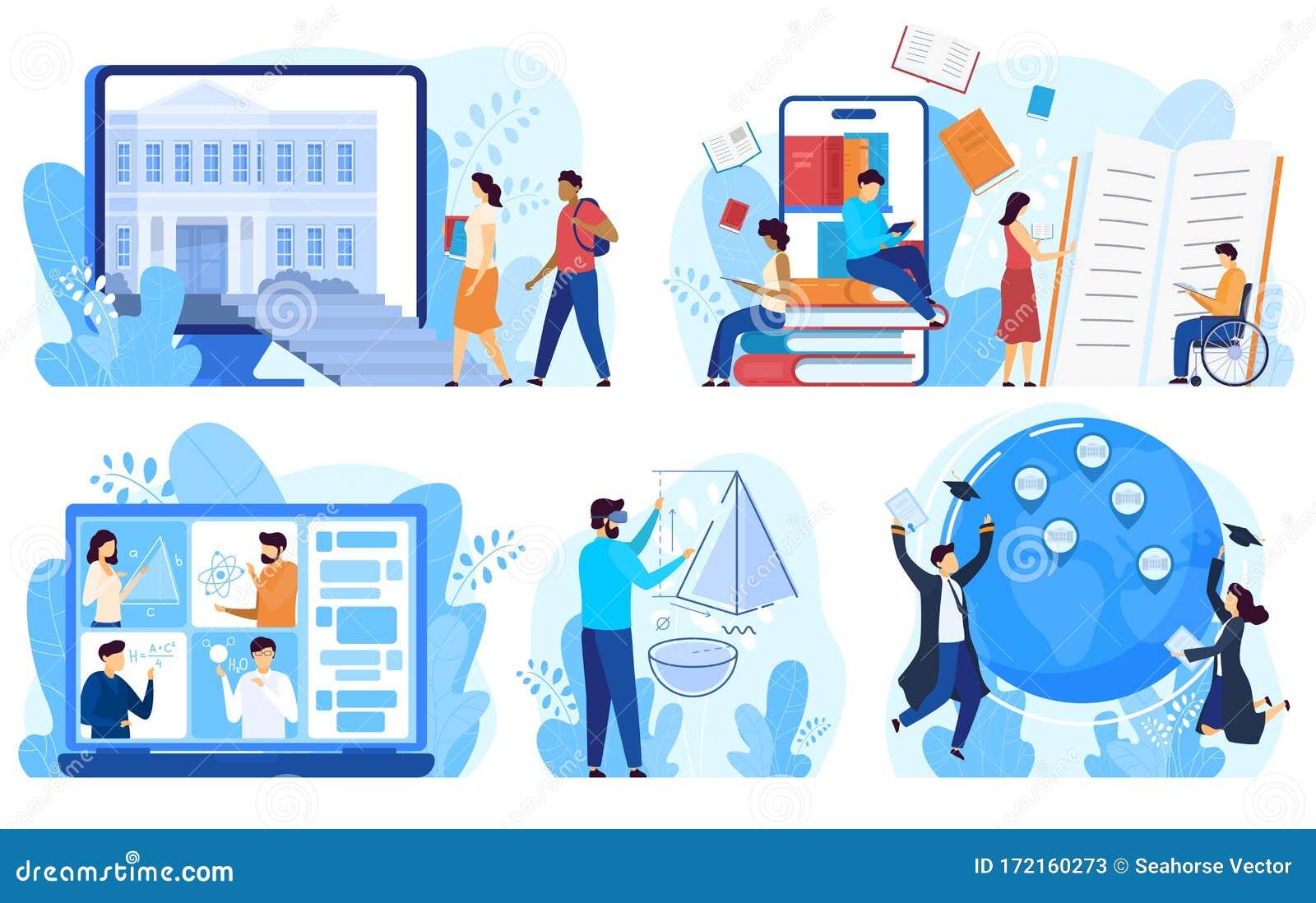 Educación A Distancia Y Concepto De Aprendizaje En Línea Ilustración Vectorial Ilustración Del Vector Ilustración De Conjunto Creativo 172160273