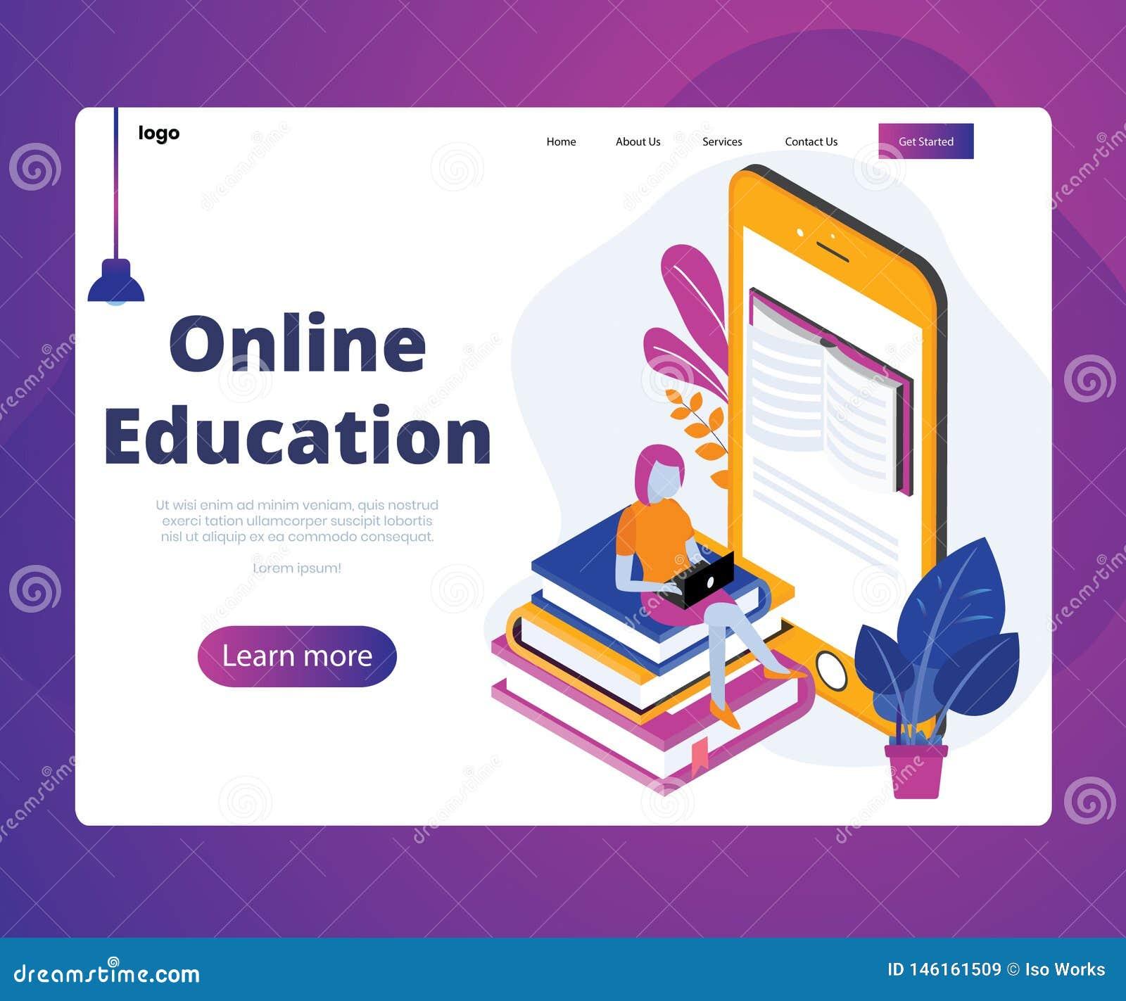 Educación en línea de estudiantes con concepto isométrico móvil en línea de las ilustraciones
