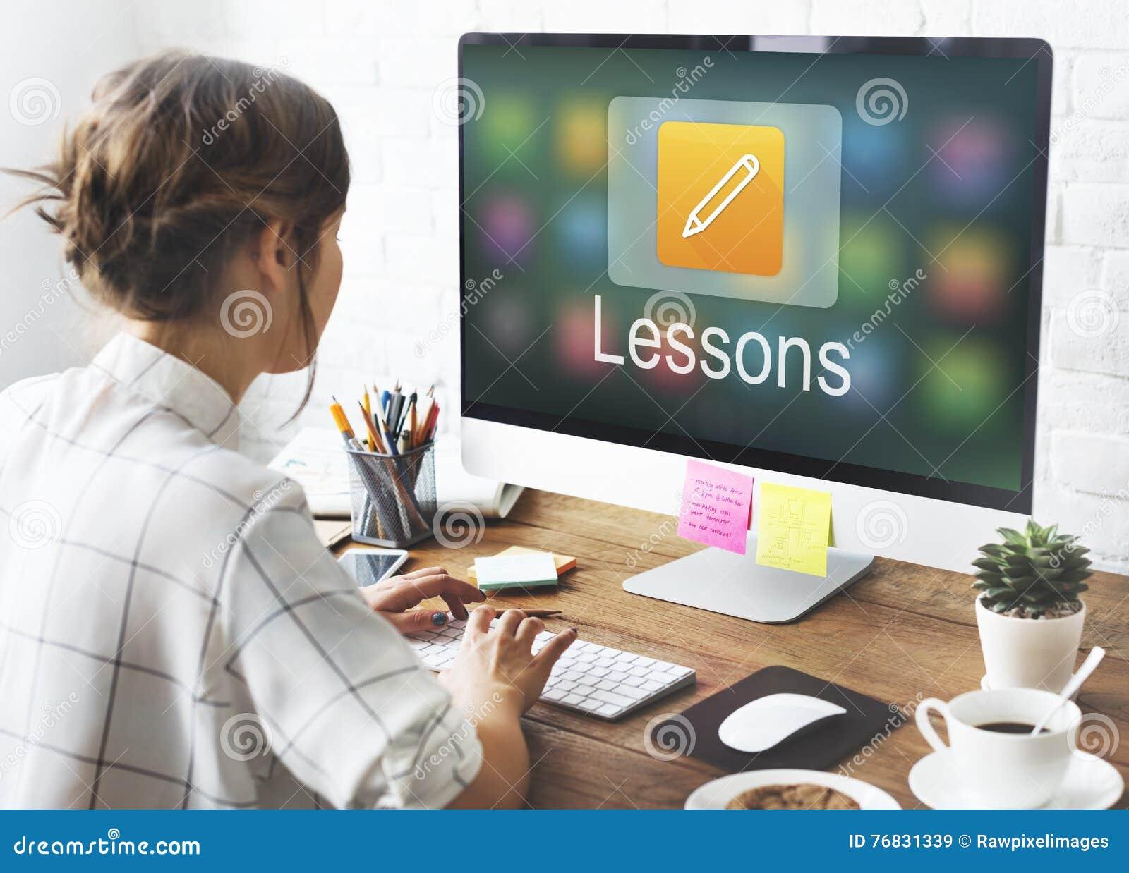 Educación en línea del icono del lápiz que aprende concepto gráfico