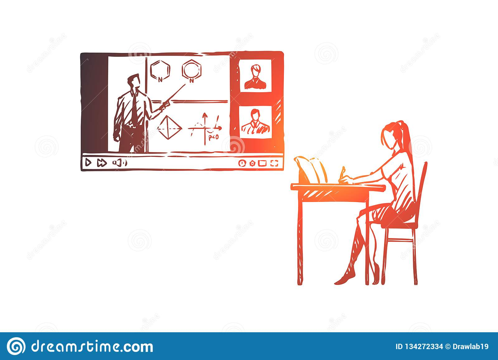 Educación, hogar, estudiante, Internet, concepto del ordenador Vector aislado dibujado mano
