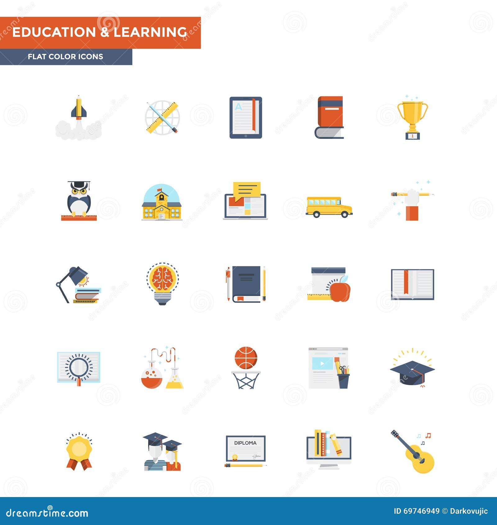 Educación y aprendizaje planos de los iconos del color