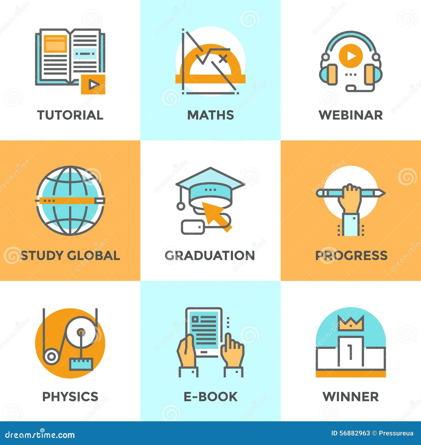 Educación y línea iconos del estudio fijados