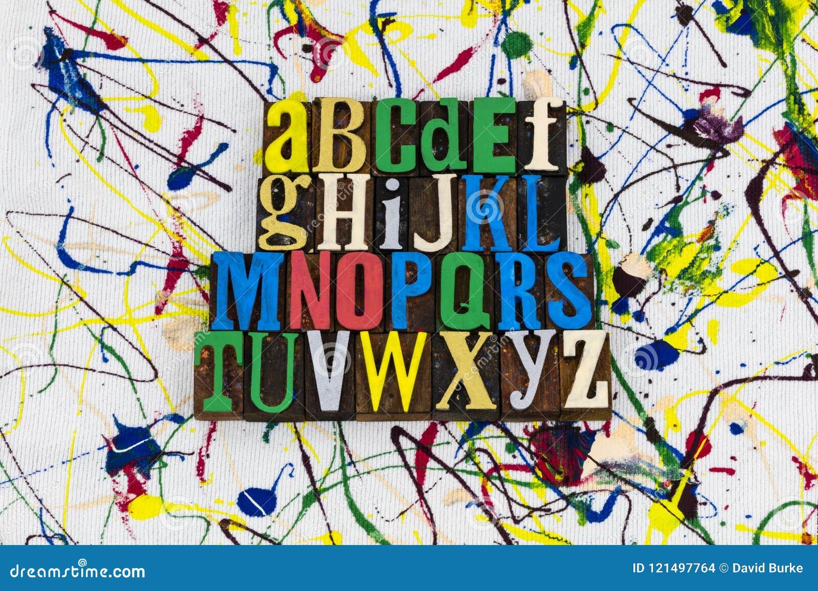 Alphabet spelling education abc letterpress