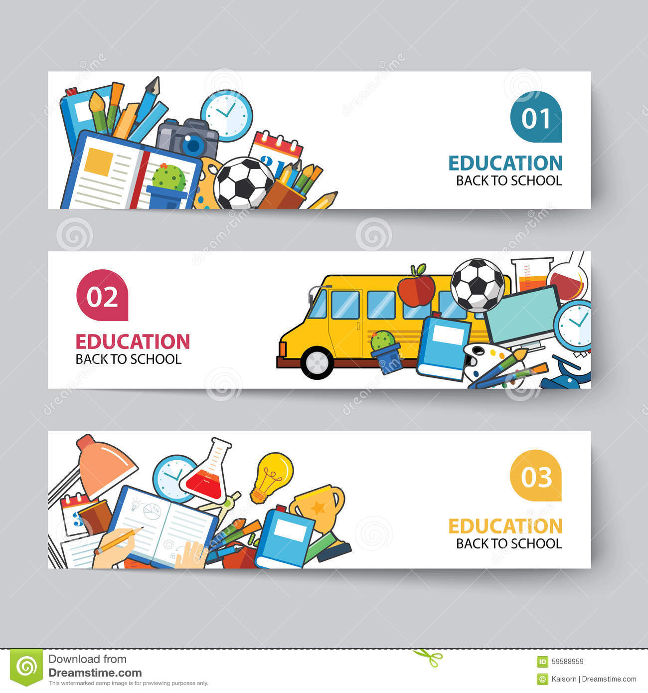 Education And Back To School Banner Concept Flat Design Stock Vector Illustration Of Media Online 59588959