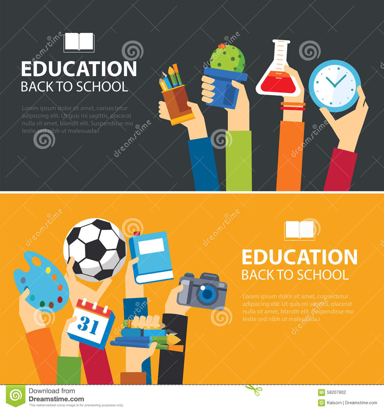 Vector Back To School Banner Concept Design. Horizontal Banners Of ...