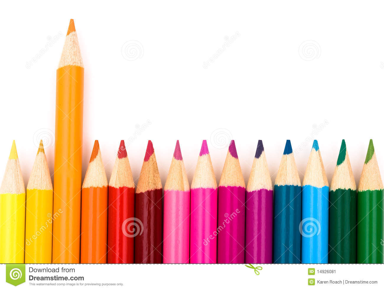 Colorful pencil crayons on a white background, Education background.