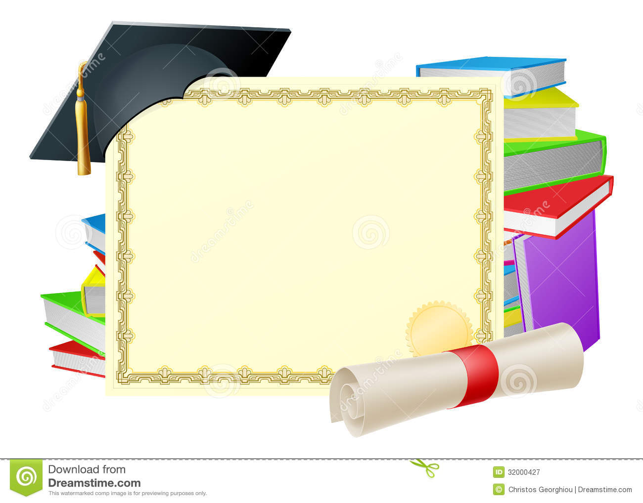 ... copy-space and scroll diploma, books and mortar board graduation cap