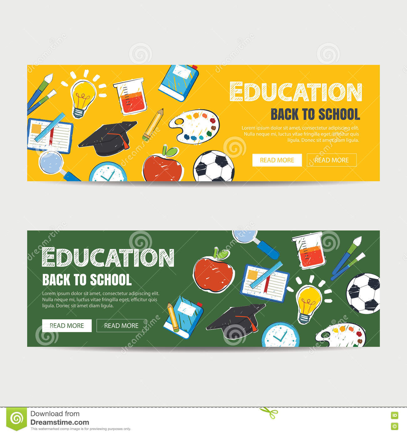 Education Banner And Back To School Background Template Stock Vector Illustration Of Equipment College 75322698