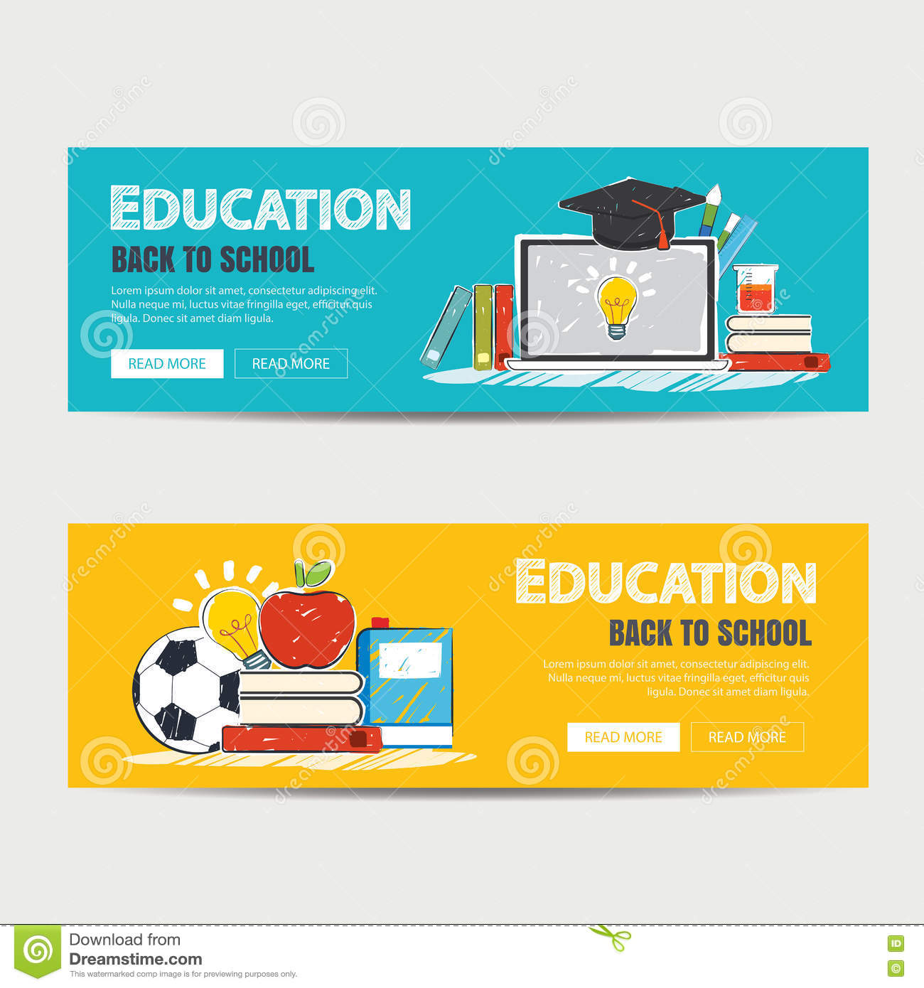 education banner and back to school background template stock vector