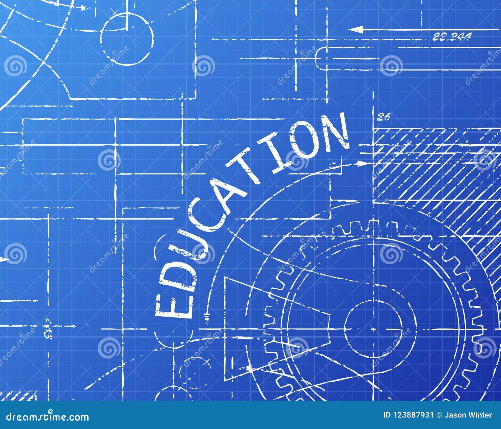 Education Blueprint Machine Stock Vector Illustration Of