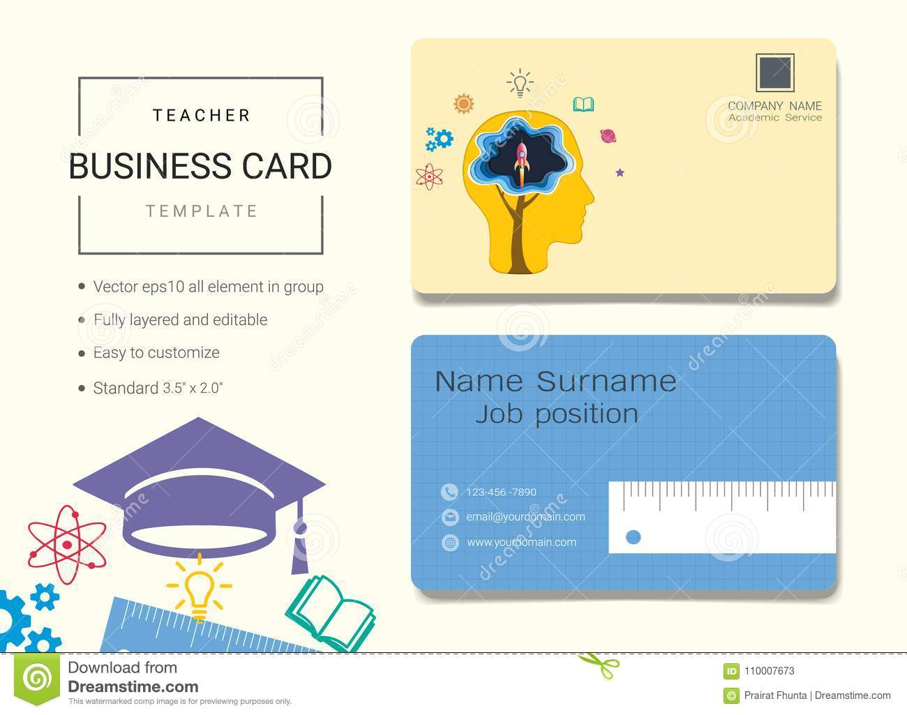 Education business card or name card template stock vector education business card or name card template decoration branding reheart Choice Image