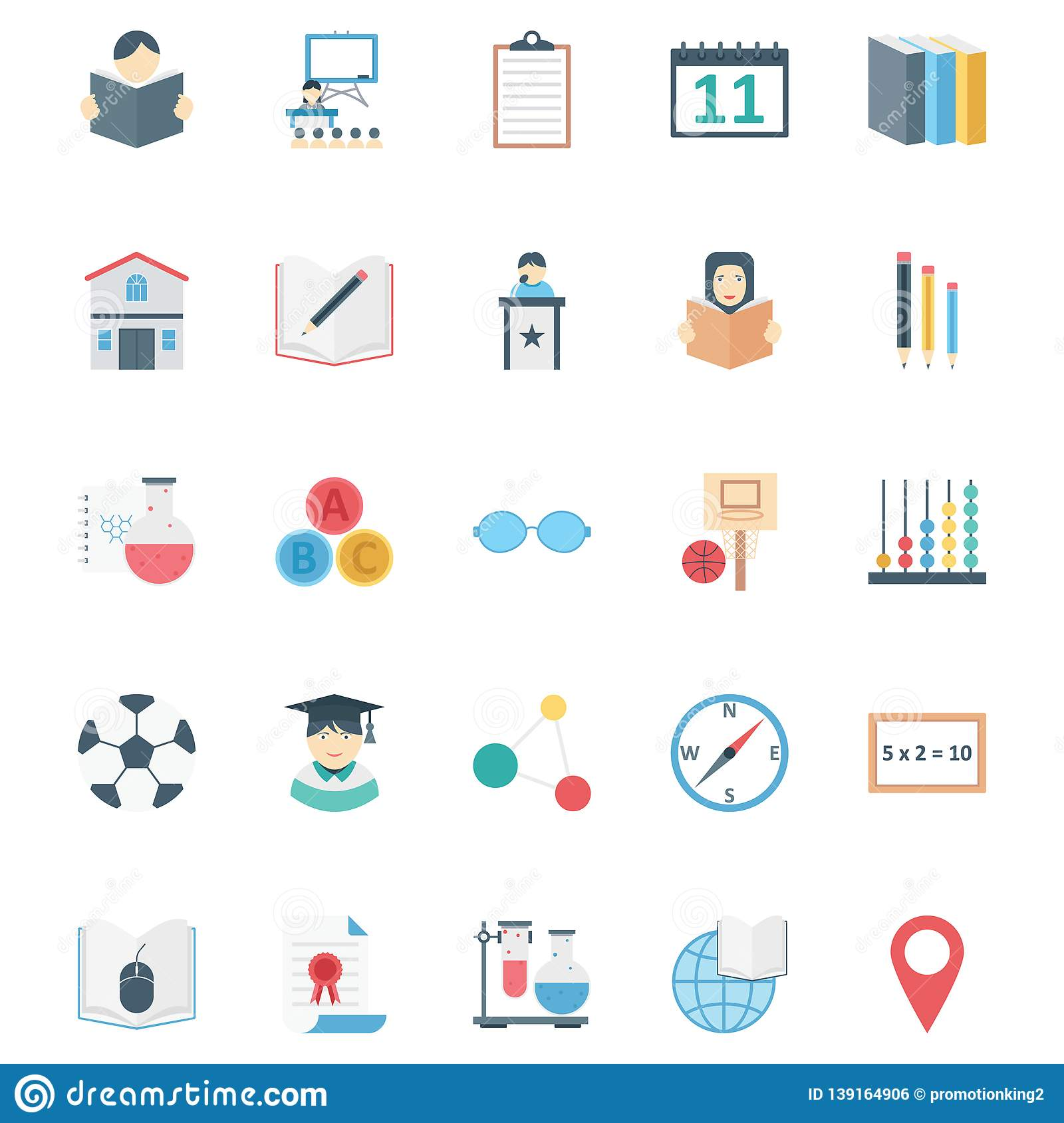 Education color Isolated Vector icons pack that can be easily modified or edit