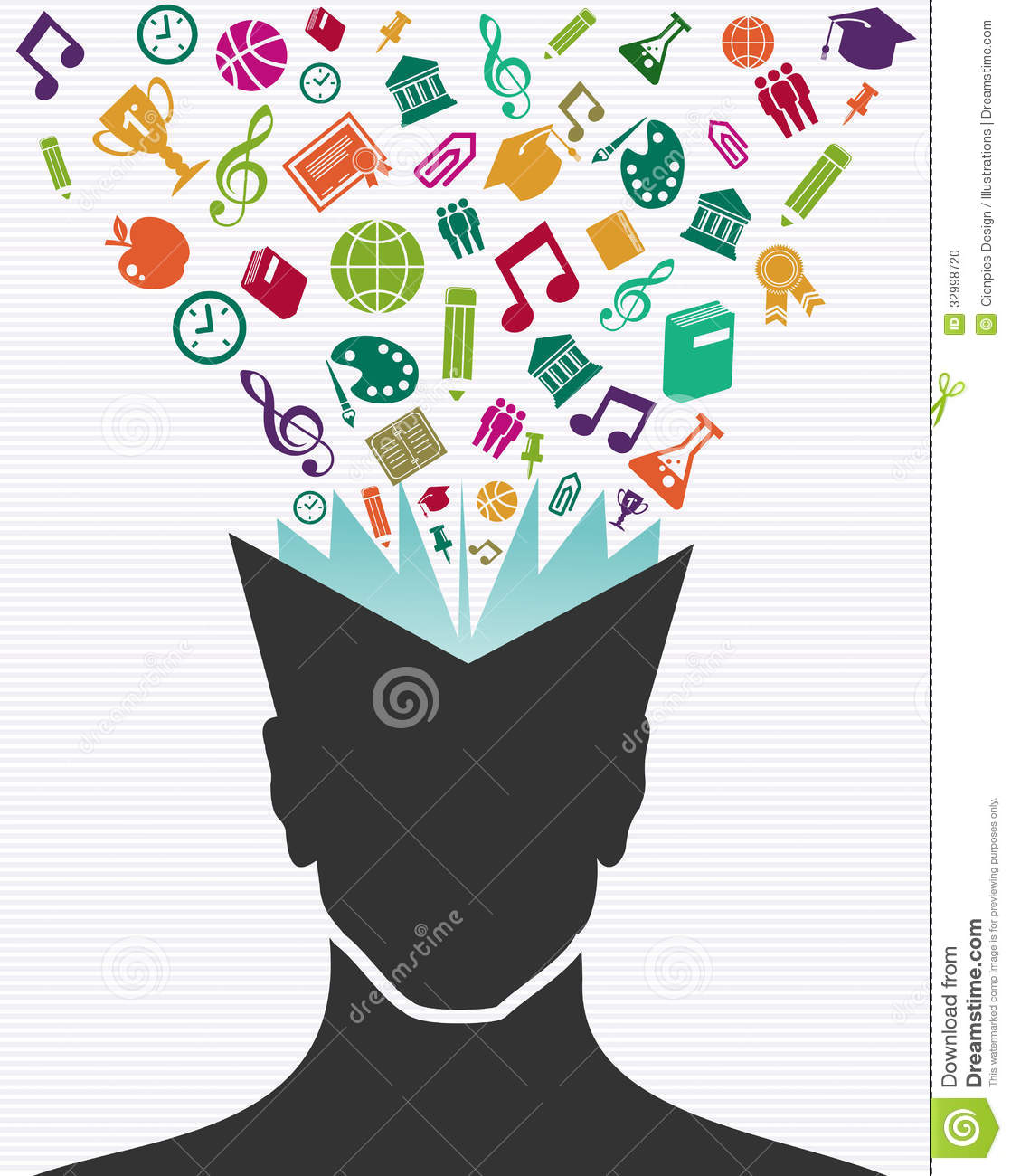 education colorful icons human head book stock photo