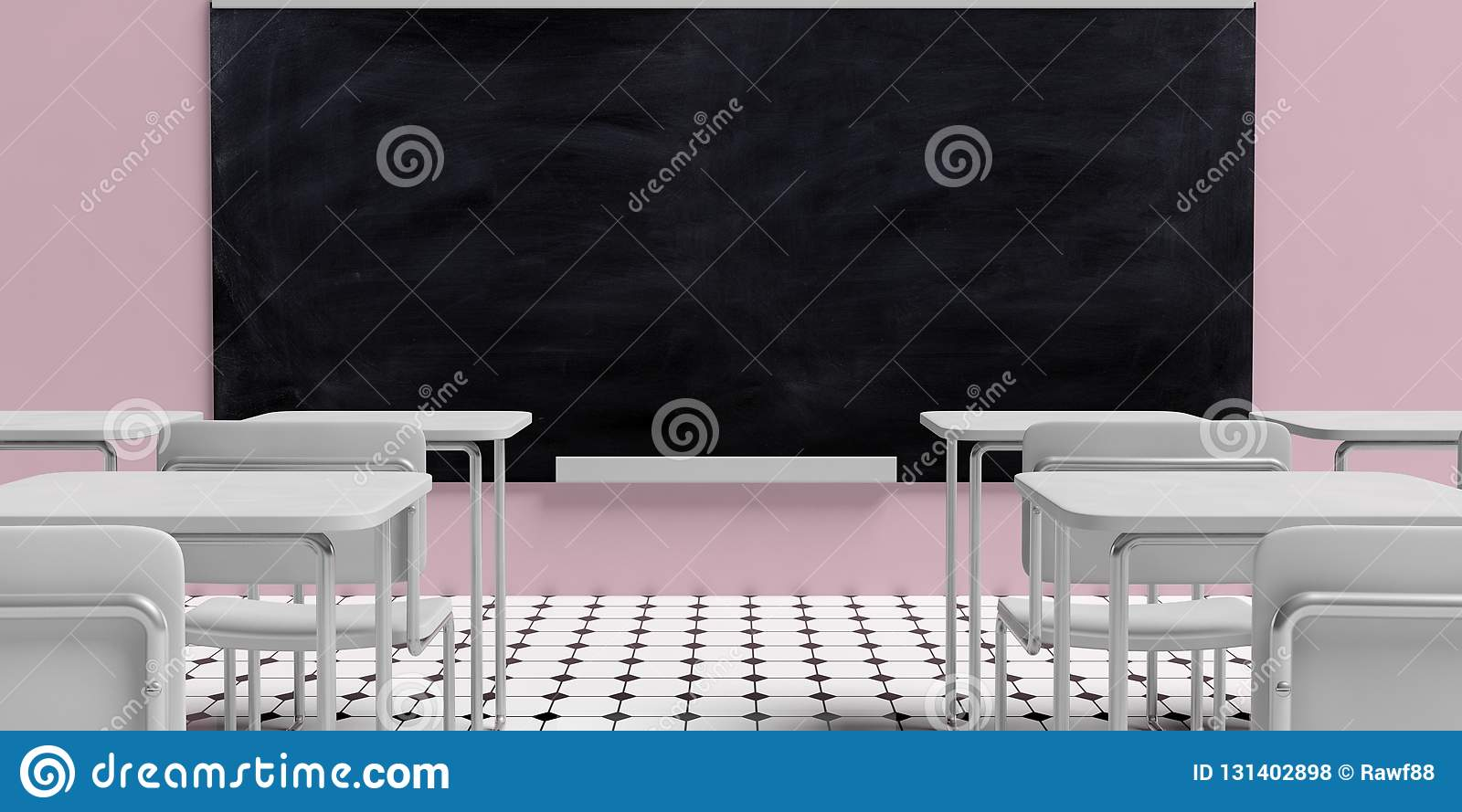 Education concept. Blackboard in empty classroom with white desks, against pink wall background and black and white octagon tiles