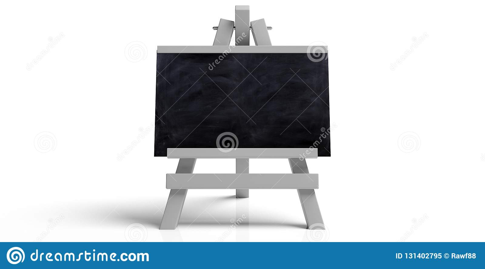 Education concept. Blackboard on white folding wooden easel, isolated against white background with copy space