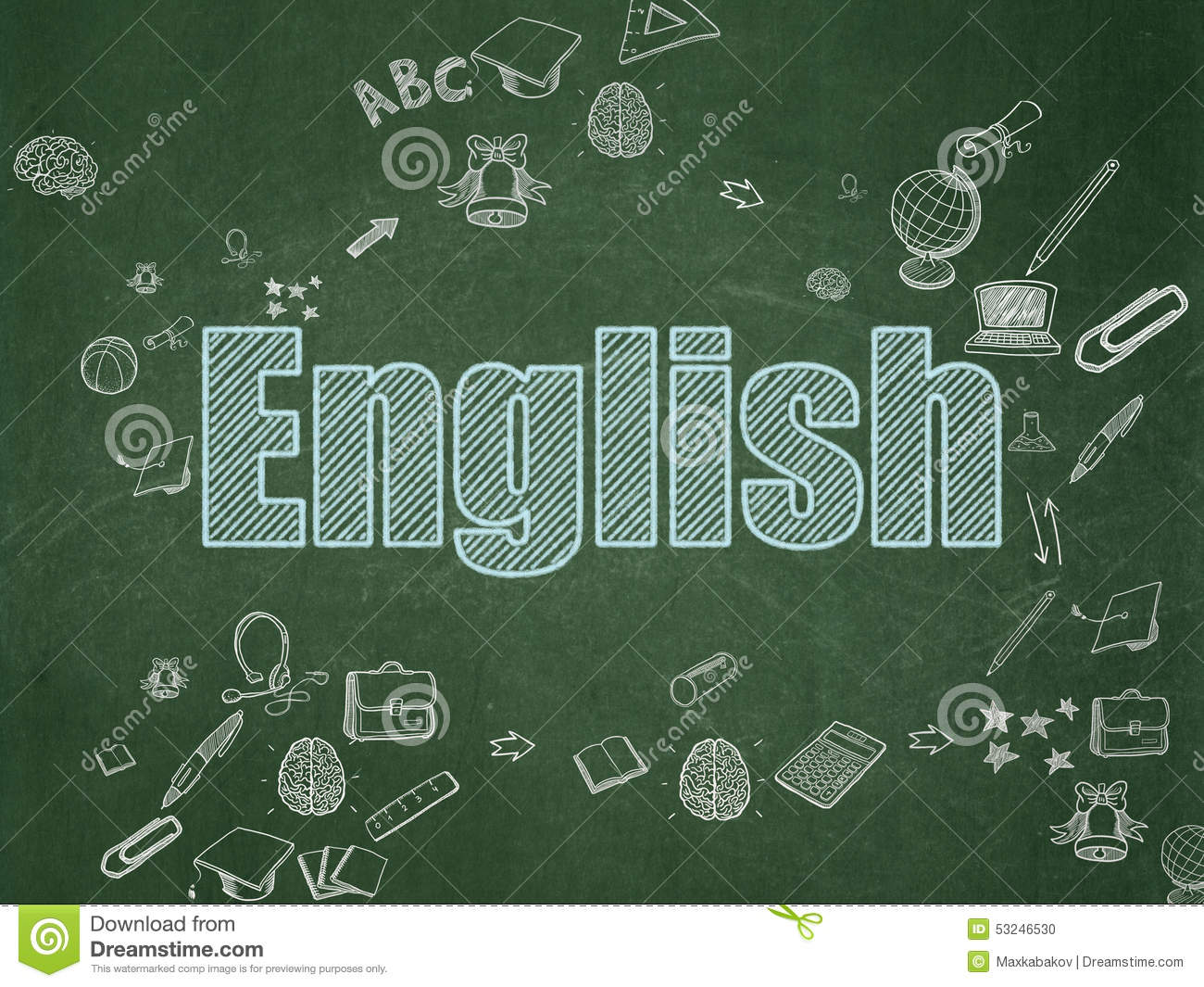 Plan Drawing Online Education Concept English On School Board Stock Photo