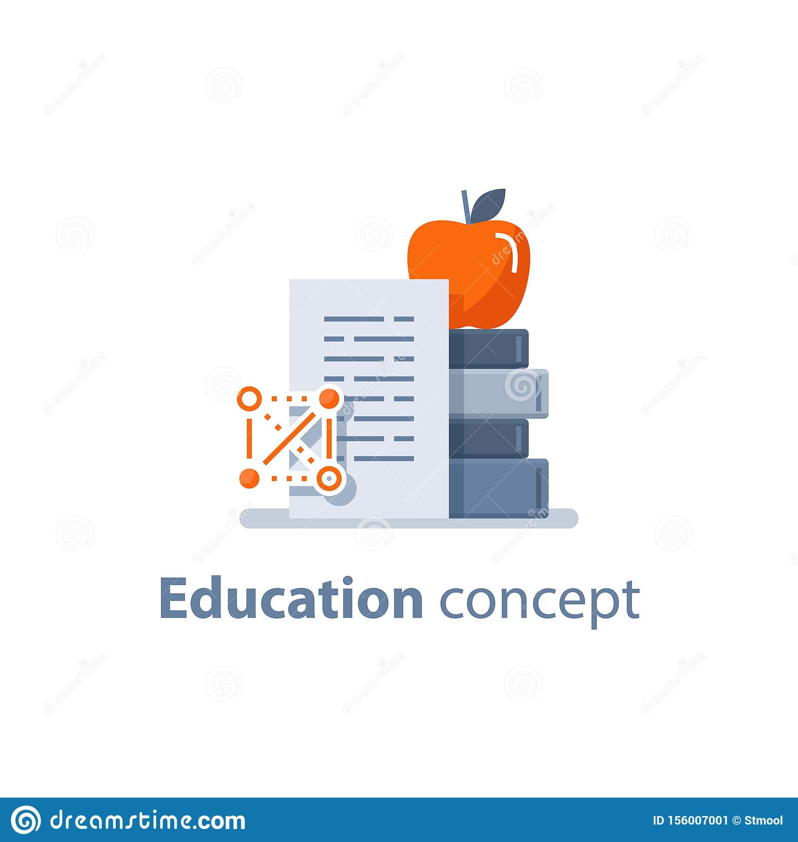 Acomplishment stack of books and apple on top, education concept, learning