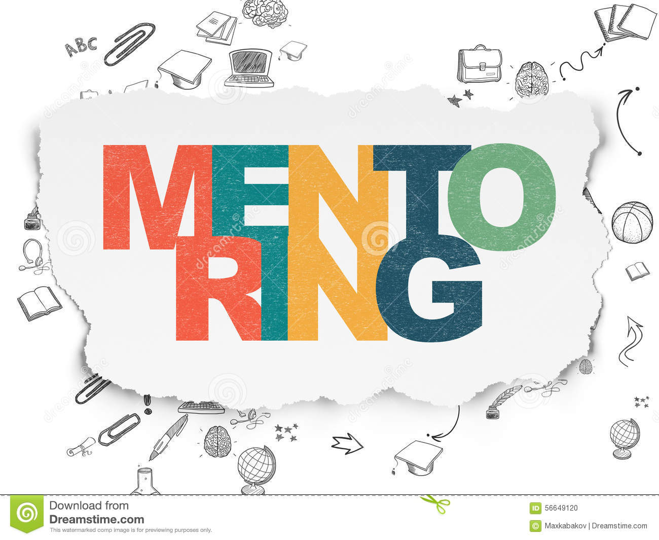 Education concept: Mentoring on Torn Paper