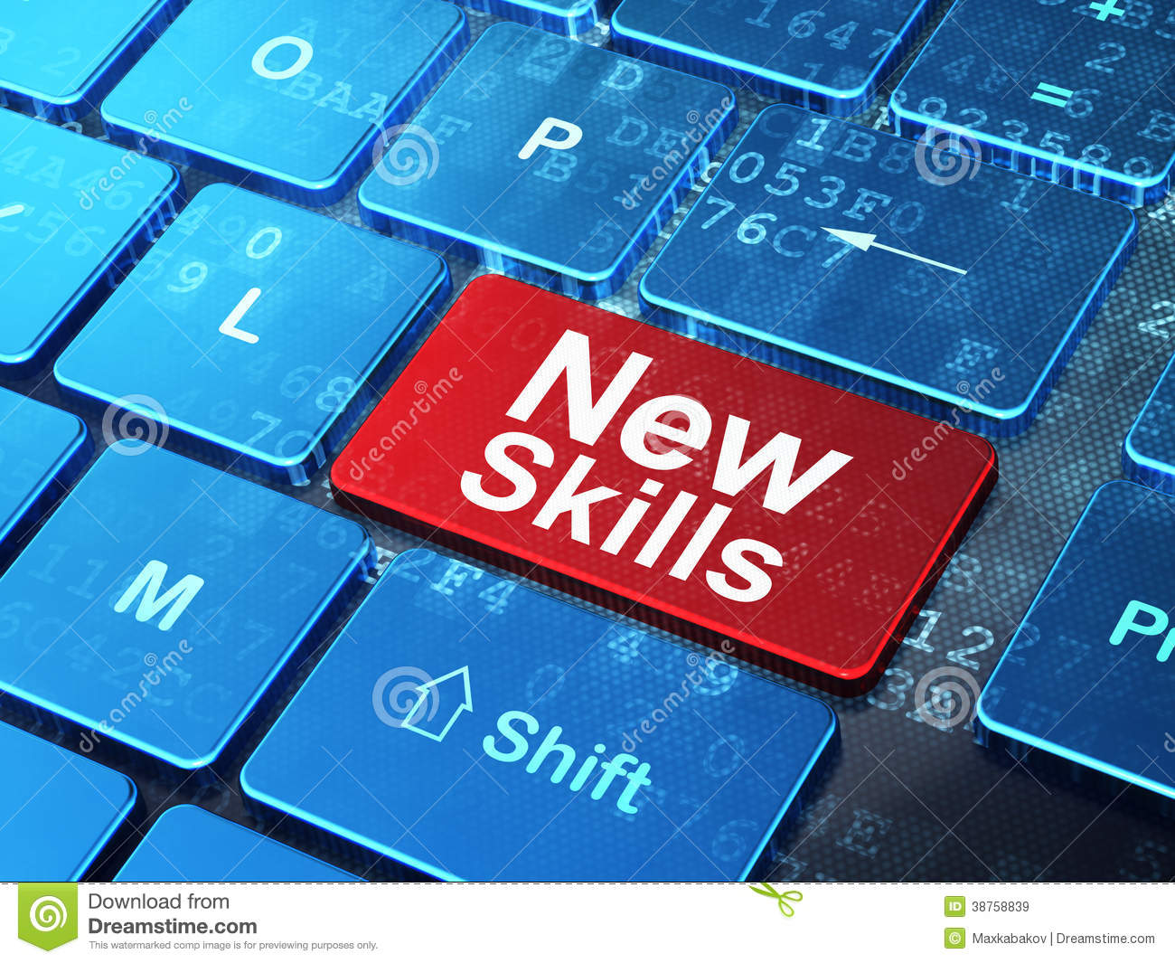 Education Concept New Skills On Computer Keyboard