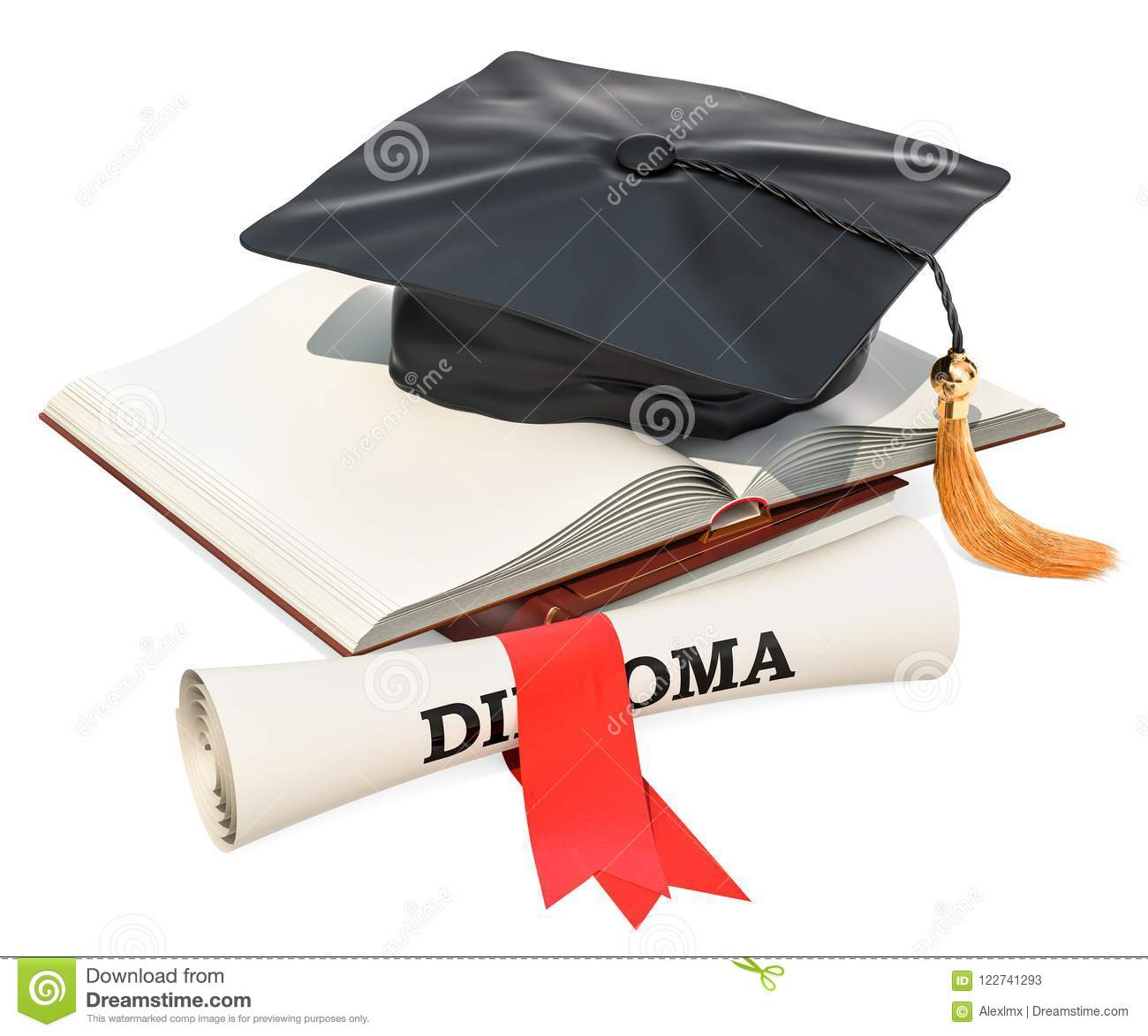 Education concept. Opened blank book with graduation cap and dip