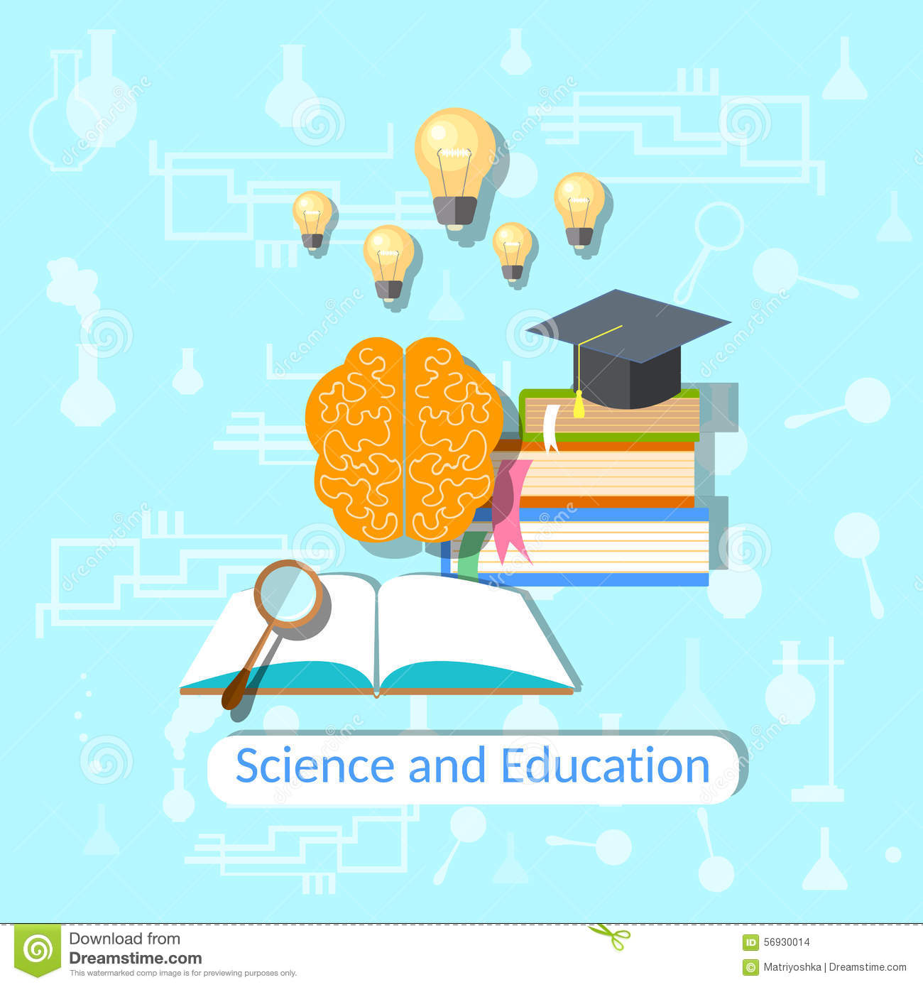 Education Concept: Science, College, Vector Illustration Stock ...