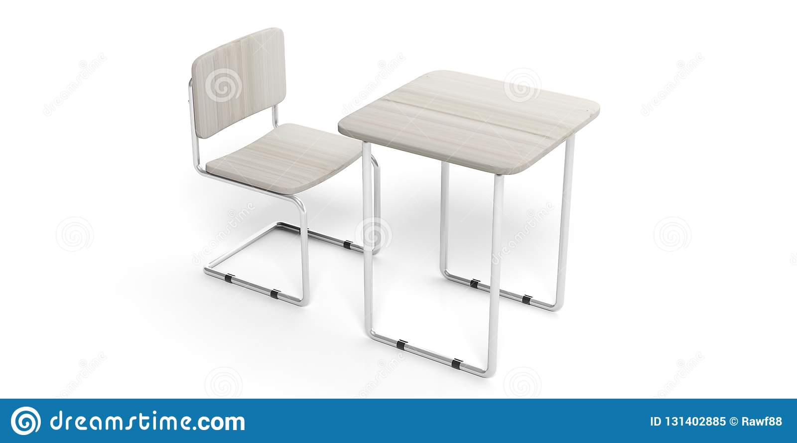 Magnificent Education Concept White Student Desk And Chair Isolated Gmtry Best Dining Table And Chair Ideas Images Gmtryco