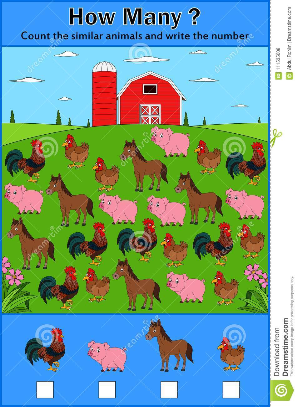 Education Counting Game Of Farm Animals For Preschool Children Stock