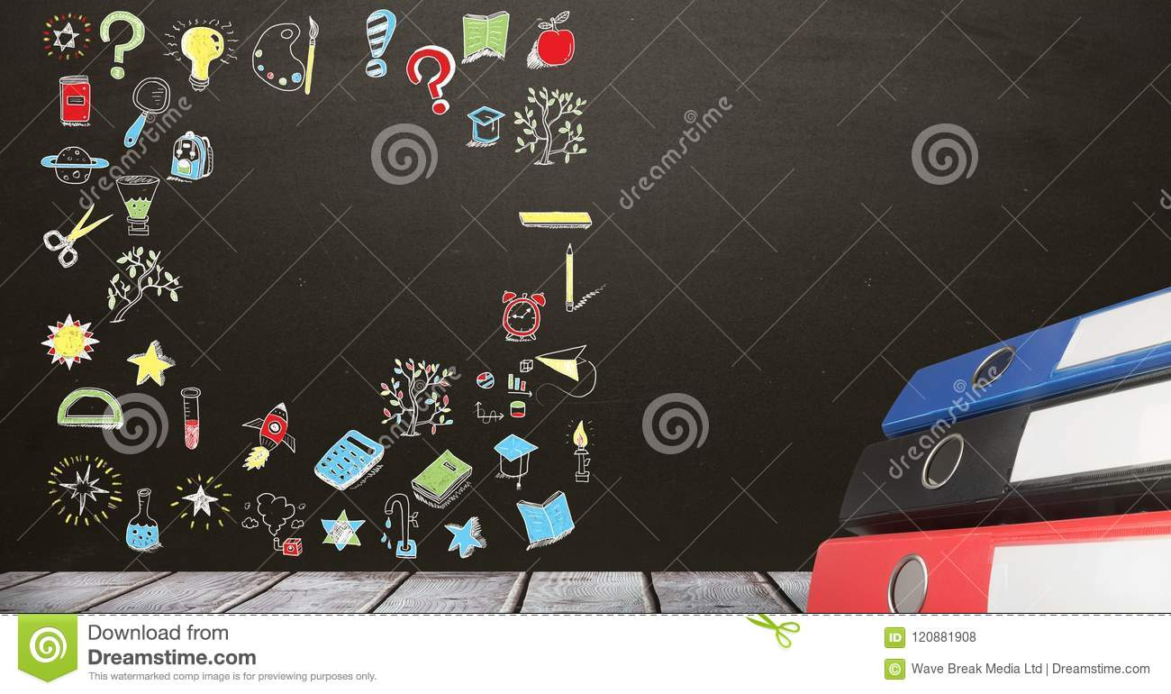 education drawing on blackboard for school with folders stock photo