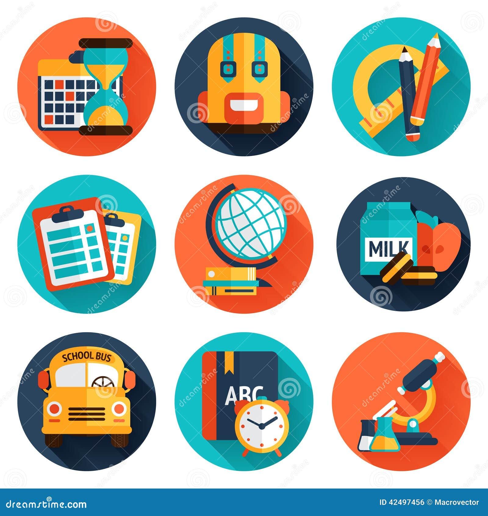 Education Flat Icons Set Stock Vector - Image: 42497456