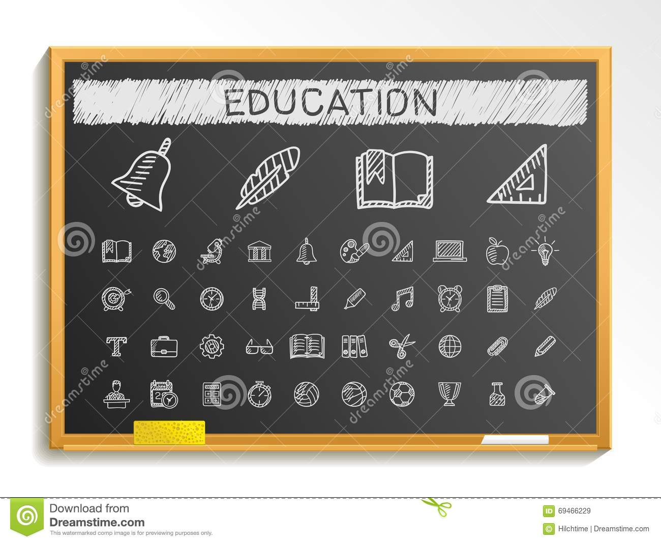 Education hand drawing line icons. chalk sketch sign illustration on blackboard