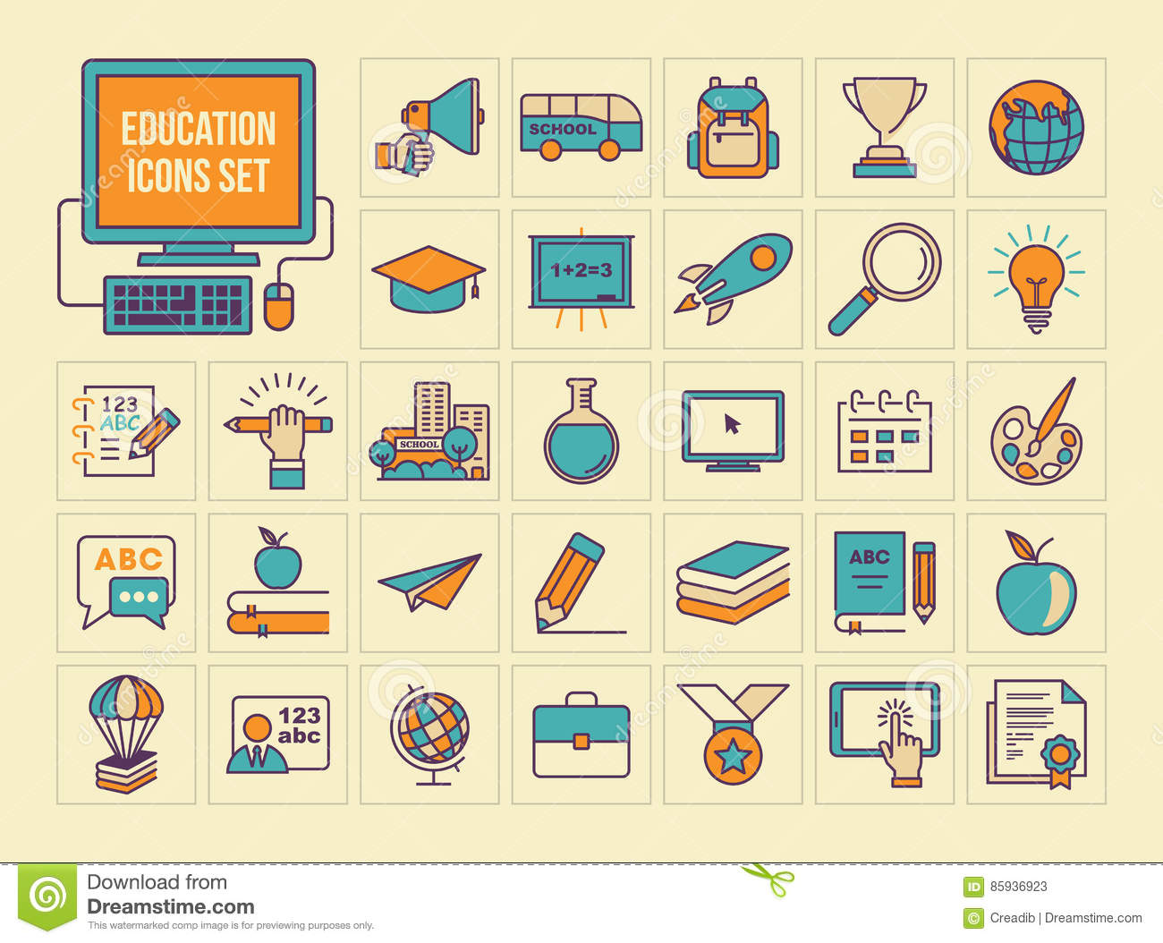 Education icons set, colored flat line icons