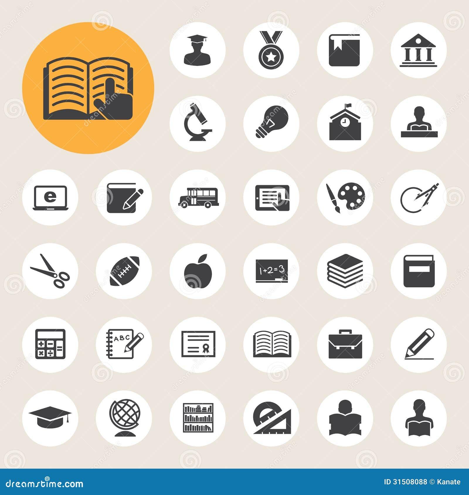 Education Icons Set Illustration Royalty Free Stock