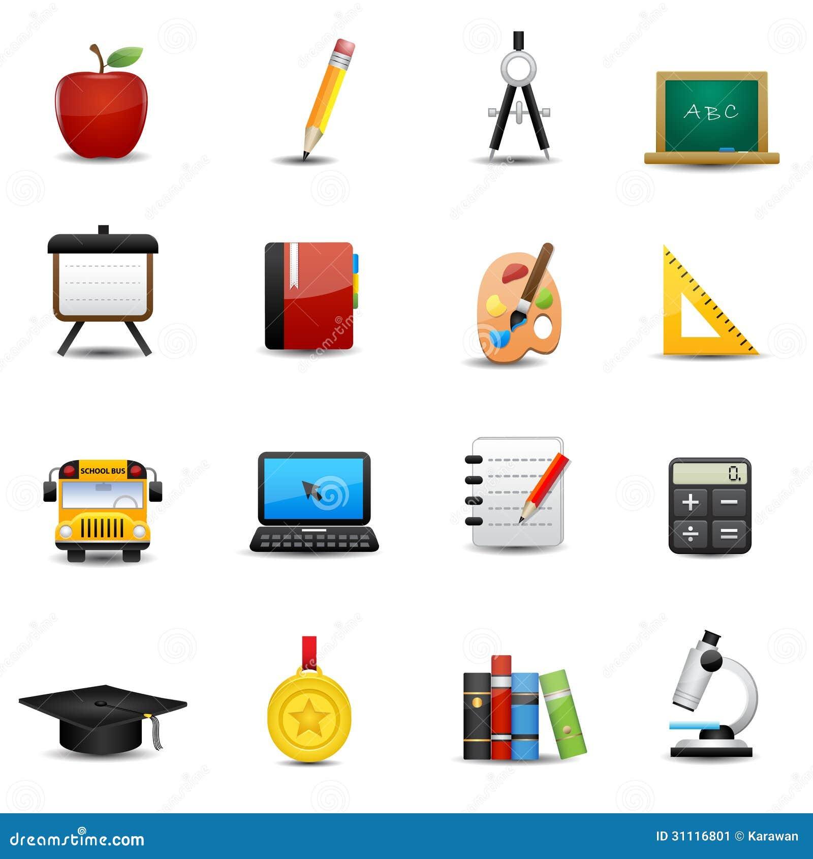 Stock Image Education Icons Set Study University Symbols Image31116801 on Computer Writing Tablet