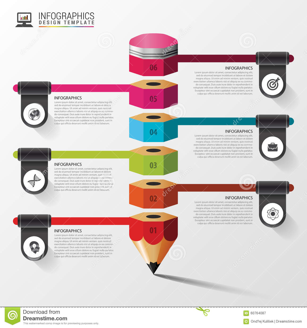 Education Infographic With Pencil. Step Diagram. Vector Design ...