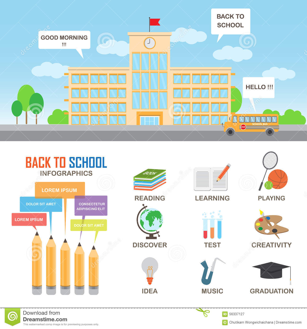Education Infographics Elements Stock Vector Image 56337127
