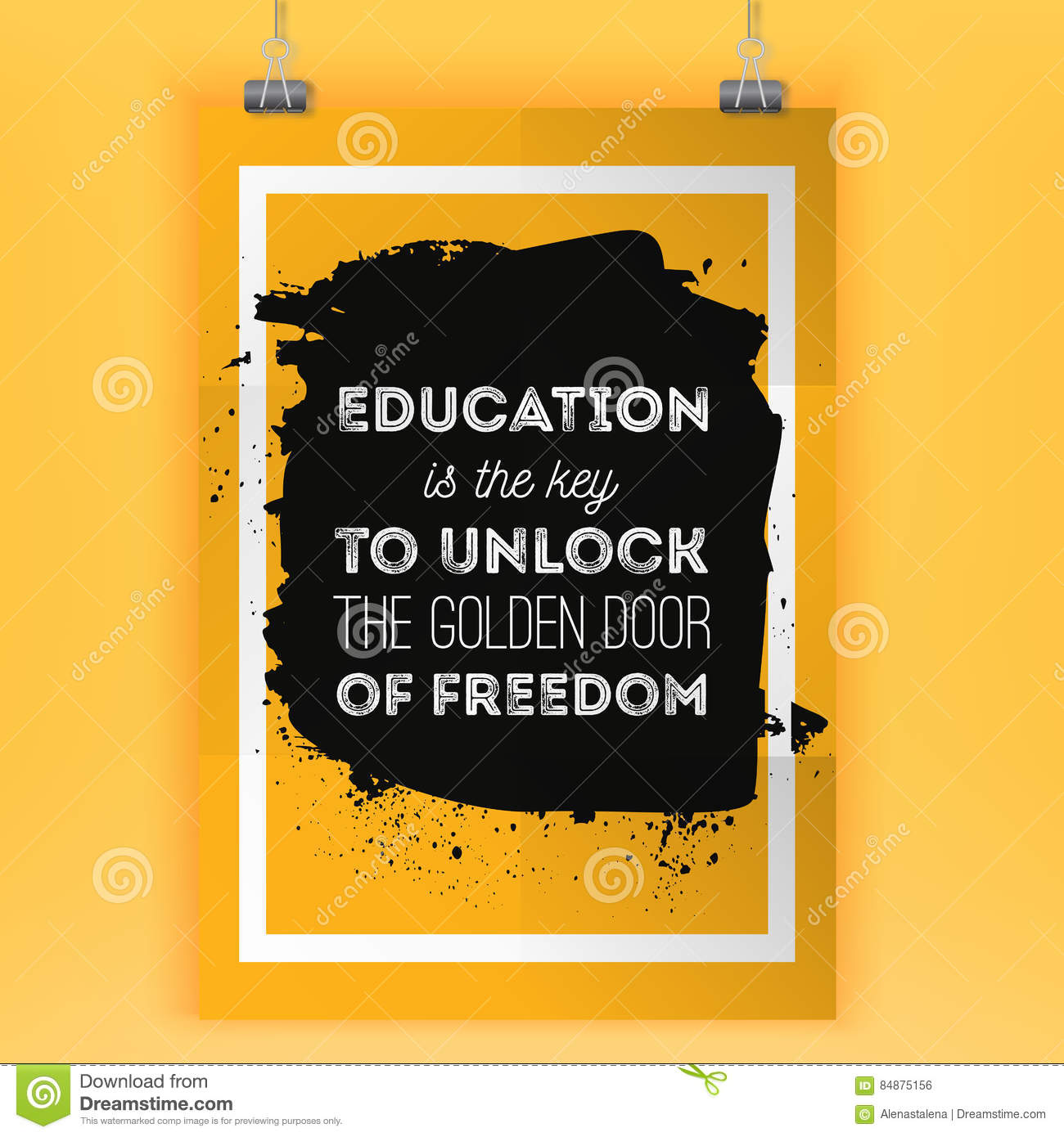 Poster design key - Education Is The Key To Unlock The Golden Door Of Freedom Motivational Quote Vector Poster